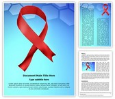 Aids Ribbon Word Template background with 3 PPT slides