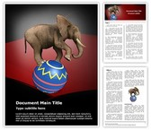 Circus Elephant Word Template background with 3 PPT slides