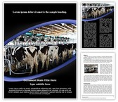 Cow Milking Factory Word Template background with 3 PPT slides