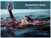 Drowning Free PowerPoint Template, TheTemplateWizard