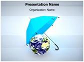 Earth Umbrella PowerPoint Template, TheTemplateWizard