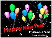 Happy New Year Balloons PowerPoint Template, TheTemplateWizard