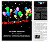 Happy New Year Balloons Word Template, TheTemplateWizard