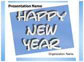 Happy New Year Text PowerPoint Template, TheTemplateWizard