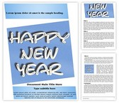 Happy New Year Text Word Template, TheTemplateWizard