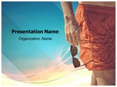 Men Beach Shorts PowerPoint Template, TheTemplateWizard
