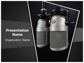 Recording Microphone PowerPoint Template, TheTemplateWizard