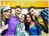 Student Friends PowerPoint Template background with 6 PPT slides