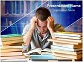 Tired Of Studying PowerPoint Template background with 6 PPT slides