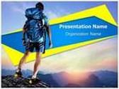 Tourist Hiking Adventure Sports PowerPoint Template, TheTemplateWizard