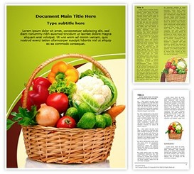 Vegetable Basket Word Template background, PPT Vegetable Basket
