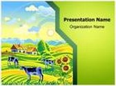 Village Agriculture Farm PowerPoint Template background with 6 PPT slides