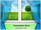 Window Landscape PowerPoint Template, TheTemplateWizard