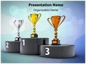 Winners Podium Trophies PowerPoint Template, TheTemplateWizard