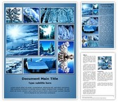Winter Snowfall Collage Word Template, TheTemplateWizard