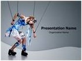 Woman Acting Like Puppet PowerPoint Template, TheTemplateWizard