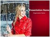 Woman In Rain PowerPoint Template, TheTemplateWizard