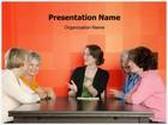 Women Conversation PowerPoint Template, TheTemplateWizard