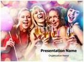 Women Drink Party PowerPoint Template, TheTemplateWizard