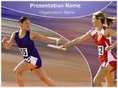 Women Relay Race PowerPoint Template, TheTemplateWizard